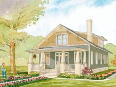 Newfield Cottage...Charming front porch and open floor plan with lots of living space.