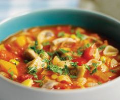 Slow cooker chunky chicken and pasta soup.Yummy chicken soup with vegetables and pasta cooked in slow cooker.