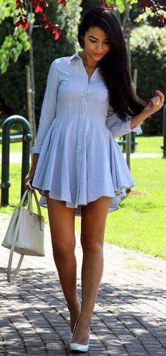 H&M Blue Pinstripe Shirt Dress.