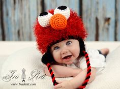 googly eyes, red hats, elmo, crochet animals, ears, children, funny babies, kid, winter hats