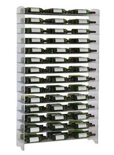 """126 Bottle Evolution System for $1,399.00    VintageView introduces the Evolution Series    Evolution is a groundbreaking lable-forward racking system incorporating acrylic panels and steel support rods.  An innovative solution for commercial and residential projects requiring a truly modern look and feel for storing wine and spirits.    126 Bottle Evolution system - 3 Bottles Deep  72"""" high x 13.5"""" deep x 40 3/8"""" wide"""