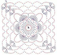 Crochet square, chart pattern