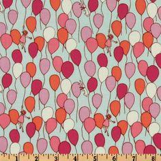 Michael Miller Fabric- Children at Play by Sarah Jane- Balloons- Aqua- Children's Novelty Fabric.