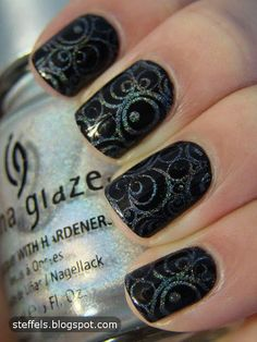 Black with holographic swirls
