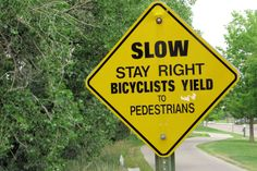 Are you kidding?  Bicyclists yield to pedestrians?  Cherry Creek Trail, Denver.