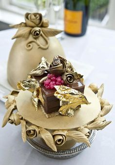 One of the most expensive desserts in the world... Decorated with gold flake and a real diamond.