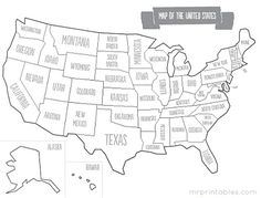 Printable map of USA with states names. Other maps on this site that range from blank to capitols & even full color. Super cute to use with the kids.