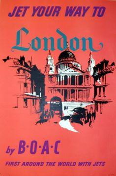 London by BOAC, 1957 - original vintage poster listed on AntikBar.co.uk