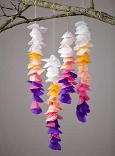 "Whattya need? Tissue paper Embroidery needle String Scissors How do I make Tissue Wisteria? Step 1: Fold tissue into rectangle. Step 2: Cut folded tissue into balloon shape, producing multiple ""pet..."