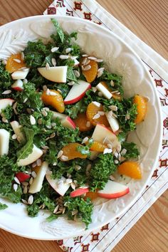 Marinated Kale Salad with Apples and Oranges #recipe