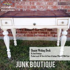The Junk Boutique, https://www.facebook.com/JunkBoutique?fref=ts, made over this writing desk with General Finishes Java Gel Stain and Antique White Milk Paint. #javagelstain #gfmilkpaint