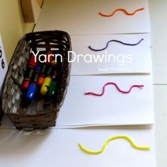 Yarn drawing prompts in preschool! Discover a little bit about how, when, and why we use drawing prompts in my classroom!