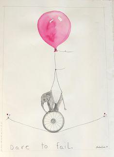 do it! elephants, tattoo ideas, elephant art, illustrations, elephant illustration, illustration art, balloons, inspiration quotes, elephant quote