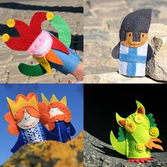 Medieval Times Finger Puppets Bag  5 Felt Finger Puppets by pukaca
