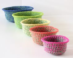 Crochet Baskets Nested Set of Five by MaryFosterCreative on Etsy, $66.00