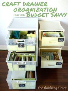 Craft Drawer Organization for the Budget Savvy ~ Lauren of The Thinking Closet via www.oneshetwoshe.com