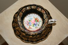 Vintage Royal Standard Fine Bone China Made in England Tea Cup and Saucer Flowers Black White Gold Shabby Cottage Chic SCT