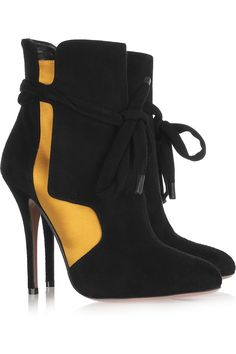 Suede and satin ankle boots by Vionnet