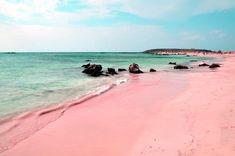 Pink sand on Ellafonisi Beach, Crete, Greece.