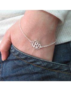 Sterling Silver Monogram Bracelet - Monogram Jewelry - Bling Boutique