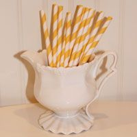 Cocktail Paper Straws Yellow Stripe
