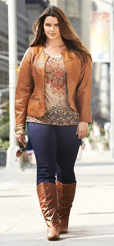 outfits plus size women, knee high boots, fall outfits, leather jackets, shirt