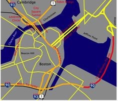 """The Central Artery/Tunnel Project, known also as """"The Big Dig"""", was the most expensive highway project in U.S. history began in response to the notorious traffic congestion found in the heart of Boston's historic districts. Learn more about the project: http://www.uhaul.com/SuperGraphics/57/1/Venture-Across-America-and-Canada-Modern/Massachusetts/Bostons-Big-Dig---The-Beginning #Boston #TheBigDig"""