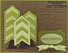 Christmas card with Chevron Border Punch punch art trees.