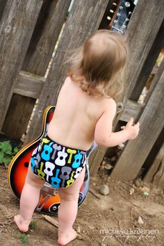 Just bought this for 'B'....so cute!  cloth diaper cover  swim diaper  rock and roll  S by ZooKiecrafts.