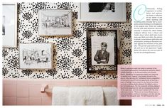 February / March 2010 - Lonny Magazine - Lonny Black and white wallpaper with pink
