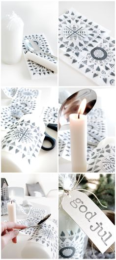 DIY - Placing a Napkin Design on a candle Tutorial. Super Easy.
