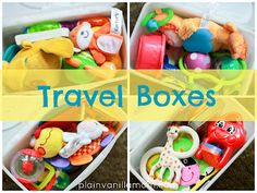 Growing A Jeweled Rose travel box, sensory activities, baby play, baby toys, sensory play, play ideas, toddler travel, long car rides, baby travel