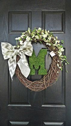 NEW - Rustic and Chevron Burlap Flower and Moss Monogram Wreath for Wedding, Housewarming, Gift, Spring and Summer Wreath