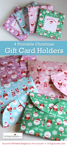 4 Printable Santa Themed DIY Gift Holders. Holds gift cards, money, notes, and other small items. Perfect for teacher gifts and goodies from Santa! #christmas