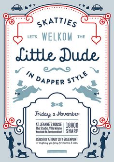 """Designed this baby shower invitation for a friend's sister. Nice to work on something cute for a change. (""""Skatties"""" means """"Darlings / Dearies"""" in Afrikaans)"""
