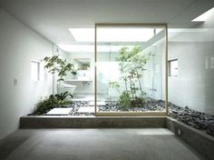 borderless living... plant, interior design, modern bathroom, interiors, bathrooms, bathroom designs, japanese gardens, inside garden, garden houses