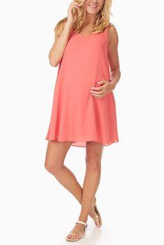 Basic-Coral-Chiffon-Maternity-Dress #maternity #fashion