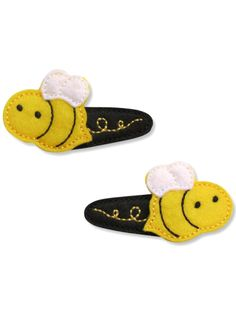 Bee Felt Hair Clip - Handmade, machine embroidered. Visit Polkadots & Moonbeams for dozens of felt hair clip designs and free shipping!