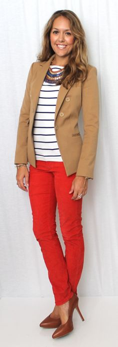 red pants, navy and white striped shirt, white shirt, brown blazer, collar necklace, brown heels