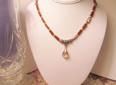 Pink Crystal Teardrop on Goldstone by RomanticThoughts, $34.00