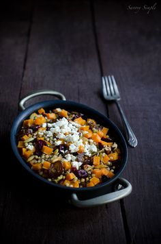 Butternut Squash Cranberry Sorghum Salad // I like this recipe but maybe use quinoa instead, no dates, and sunflower seeds instead of pumpkin seeds