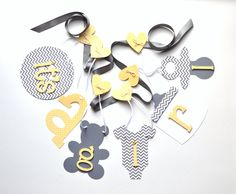 Yellow and grey baby shower decorations chevron by ParkersPrints
