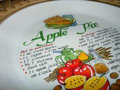 Beautiful Vintage Apple Pie Safe Keeper Covered Plate Baking Pan Dish w Recipe | eBay