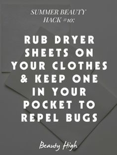 dryer sheets to repel bugs