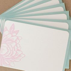 Letterpress Cards  Blossoming Flower Notes Peony Pink by RubyPress, $14.00