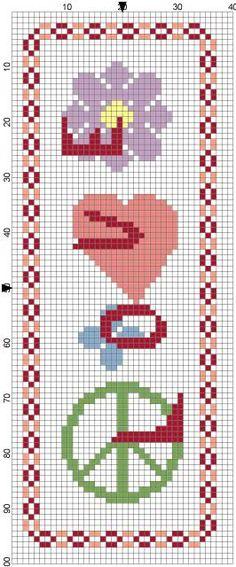 Free hippy cross stitch bookmark chart