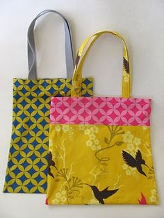 Easy Tote Bag. I've made one of these and it was super cute and easy! Need to make some more.