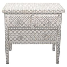Showcasing an ornate bone inlay and 3 drawers, this lovely chest is perfect for resting a vase of vibrant blooms in the entryway or a stack of leather-bound ...