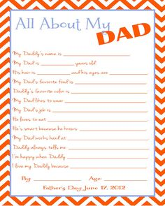Free Father's Day Printable Questionnaire