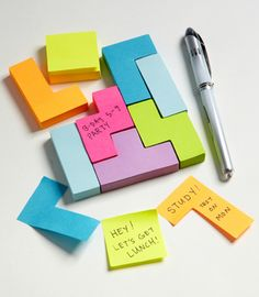 Block Sticky Notes!   Write a little note, or draw picture and make it into a puzzle?